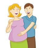 Zwangere vrouw en echtgenoot Stock Afbeeldingen
