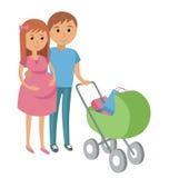 zwangere vrouw en haar echtgenoot bij het winkelen Stock Afbeeldingen