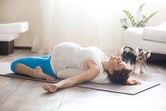 Zwangere vrouw en haar huisdierenhond die yoga thuis doen stock afbeelding