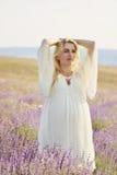 Zwangere vrouw op een lavendelgebied Stock Foto