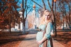 Zwangere vrouw op het park van de gangstad in de herfstdag Royalty-vrije Stock Afbeeldingen