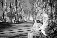 Zwangere vrouw op het park van de gangstad in de herfstdag Royalty-vrije Stock Foto