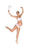 Zwangere vrouw in sprong Royalty-vrije Stock Afbeelding