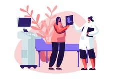 Zwangere Vrouw in Ultrasone klankkabinet het Letten op Babybeeld Vrouwelijke Karakter Arts Show Fetus Image aan Toekomstige Moede royalty-vrije illustratie