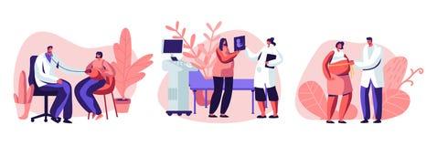 Zwangere Vrouwelijke Karakters bij Arts Appointment Medische Controle omhoog, Ultrasone klank, Metend Buik, het Luisteren Babyhar royalty-vrije illustratie