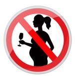 Zwangere vrouwen en alcohol stock illustratie