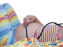 Zwangere vrouwenbuik Stock Afbeeldingen