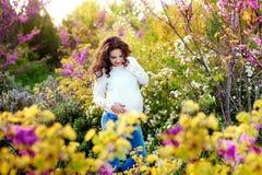 Zwangere vrouwengangen in park bij avond Familie die van zwangerschap genieten Het concept Moeder` s Dag en Vrouwen` s Dag royalty-vrije stock afbeeldingen