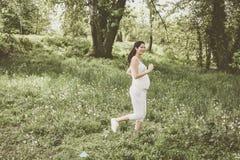 Zwangere vrouwenjogging op gebied royalty-vrije stock foto's