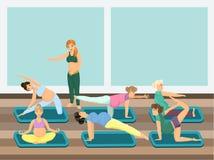 Zwangere women do yoga met instructeur Vector beeld stock illustratie