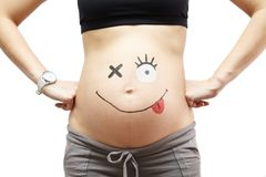 Zwangerschap. Buik met het vullen. Stock Afbeelding