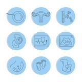Zwangerschap en bevalling Vectorlijnpictogrammen stock illustratie