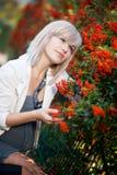 Zwangerschap en de herfst Stock Foto