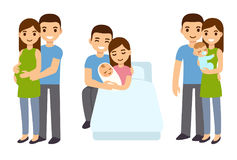 Zwangerschap en geboorte in familie royalty-vrije illustratie