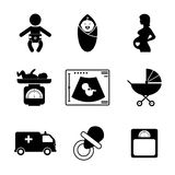 Zwangerschap en geboortepictogrammen royalty-vrije illustratie