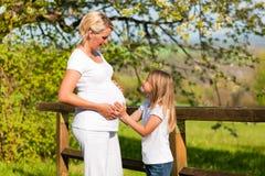 Zwangerschap - meisje wat betreft buik van zwangere moeder Royalty-vrije Stock Afbeelding
