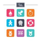 Zwangerschap, moederschaps en babyzorgpictogrammen Royalty-vrije Stock Foto