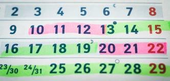 Zwangerschap, planning Groene en rode dagen voor conceptie stock fotografie
