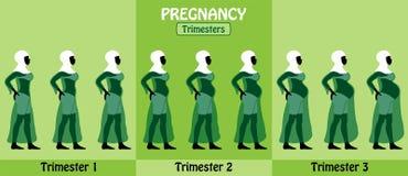 Zwangerschapstrimesters van zwangere zwarte moslimvrouw met hijab a Stock Foto
