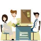 Zwangerschapsvrouw bezoekende arts in kliniek, verwachtende ouders, vectorillustratie Royalty-vrije Stock Afbeelding