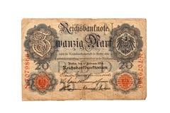 德国钞票zwanzig标记的历史1914年 免版税图库摄影