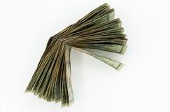 Zwanzig amerikanische Dollarscheine auf einem weißen Hintergrund Stockfoto