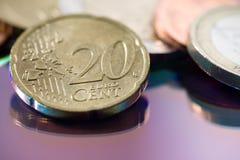 Zwanzig-Cent-Euromünze Lizenzfreies Stockbild