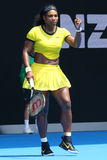 Zwanzig einmal Grand Slam-Meister Serena Williams in der Aktion während ihres Viertelfinalematches an Australian Open 2016 Stockfoto