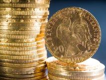 Zwanzig französische Franken Münzen Stockbilder