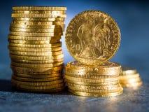 Zwanzig französische Franken Münzen Lizenzfreies Stockbild