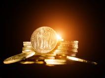 Zwanzig französische Franken Münzen Lizenzfreie Stockfotos