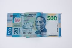 Zwanzig gegen fünfhundert Pesos lizenzfreies stockbild