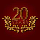 Zwanzig Jahre kopierte Firmenzeichen des Jahrestages Feier goldenes Logo der 20. Jahrestagsweinlese Stockfotos