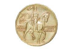Zwanzig Kronen Die Währung der Tschechischen Republik Makrofoto einer Münze Tscheche stellt eine Zwanzigkrona-Münze dar Stockfotografie