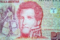 Zwanzig Pesos Juan Manuel de Rosas Stockfotos