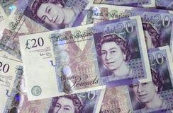 Zwanzig Pfund Anmerkungen stockbilder