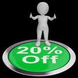 Zwanzig Prozent weg vom Knopf zeigt 20 weg vom Produkt Stockbild