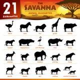 Zwanzig Schattenbilder mit einen Savannentieren Lizenzfreie Stockfotografie