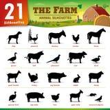 Zwanzig Schattenbilder mit einen Vieh Stockfotografie