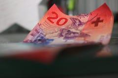 Zwanzig Schweizer Franken schließen oben Lizenzfreies Stockfoto