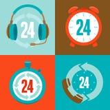 Zwanzig vierstündliche Unterstützung - flache Ikonen Lizenzfreie Stockfotos