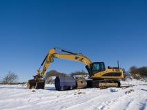 Zware apparatuur in sneeuw Royalty-vrije Stock Foto's