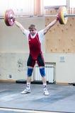 Zware atletiek, weightlifter. Stock Foto's