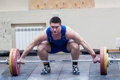 Zware atletiek, weightlifter. Stock Foto