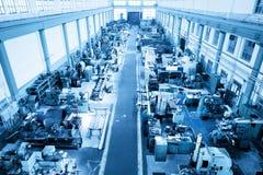 Zware industrieworkshop, fabriek in luchtmening royalty-vrije stock afbeeldingen
