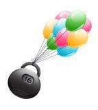 Zware kettlebell die op lichte luchtballen vliegen Stock Fotografie