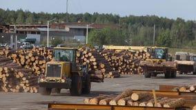 Zware machines in een fabriek, houtbewerkingsfabriek, werkschema in een fabriek stock videobeelden