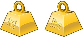 Zware pictogrammen in goud Royalty-vrije Stock Afbeelding