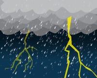 Zware regen en verlichting in donkere hemel vector illustratie