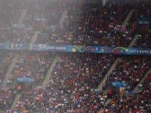 Zware regenonweer tijdens voetbal Royalty-vrije Stock Fotografie